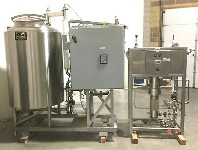 CIP Clean In Place Steam Heated Sterile Stainless Steel 7.5HP 300G Tank System