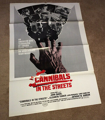 CANNIBALS IN THE STREET Orig Movie Poster 1982 Horror Gore Zombie APOCALYPSE