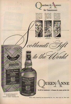 1954 Queen Anne Scotch Whisky ~ Whiskey Bottle~Box 50s Ad MMXV