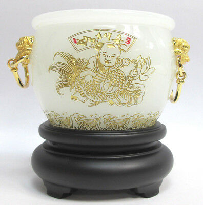 White Gold Chinese Lion Koi Fish Planter Vase with Stand