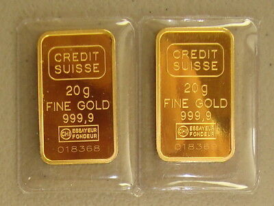 Lot of (2) Credit Suisse 20 Gram .9999 Fine Statue of Liberty Gold Bullion Bars