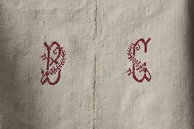 Linen sheet antique French 96X77 slipcover upholstery fabric linen heavy BC mono