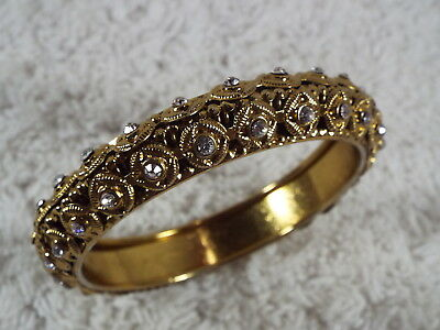Filigree Goldtone Rhinestone Bangle Bracelet (D5)