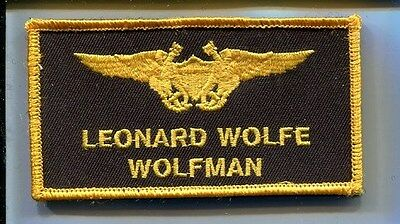 LEONARD WOLFMAN WOLFE US NAVY TOP GUN MOVIE Costume Name Tag Jacket Patch