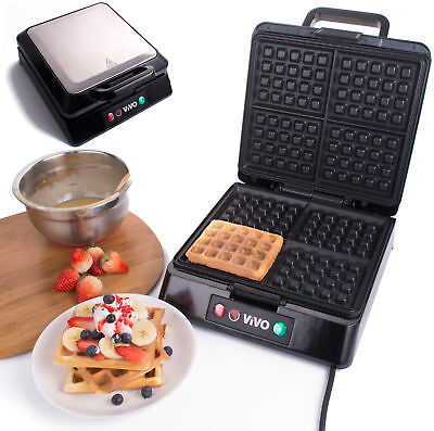 Vivo 4 Slice Belgian Waffle Maker Iron Machine in Stainless Steel 1300 Watts