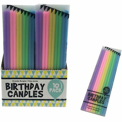 10pc 14cm Matchstick Cute Birthday Candles Colours Tall Skinny Cake Party