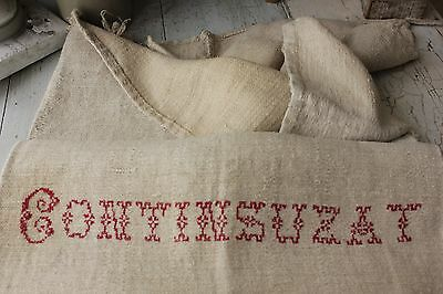 GRAIN SACK grainsack FRENCH Continsuzat surname C 1850 antique hemp linen bag