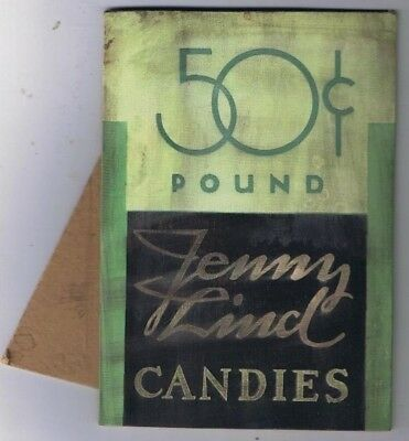 Jenny Lind Candies Stand Up Ad Board Antique 50 Cents Pound