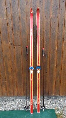 "Vintage Wooden 82"" Long Red Skis with Bindings Signed SPLITKEIN"