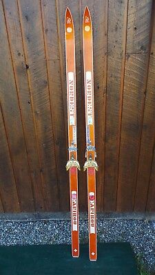 "Vintage Wooden 70"" Long  Skis with Bindings Signed CARIBOU"