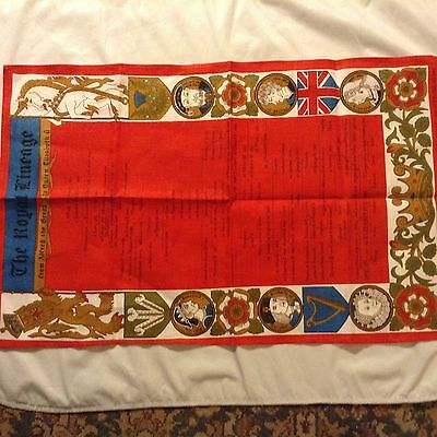 "NWOT Irish Linen TEA TOWEL The Royal Lineage of Britain 30.5x19"" Made by Ulster"