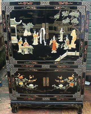 Very Large Useful Oriental Type Cupboard With Fab Decoration On It