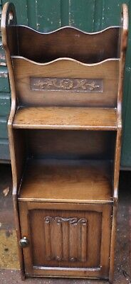 Very Unusual Looking Magazine Rack Bookcase With Linenfold Cupboard Below