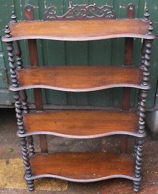 Good Looking Set Of Wooden Shelves With Barley Twist Uprights To Tidy Up