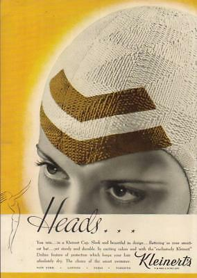 1937 Kleinert's Women's Swim~Bathing Cap Vintage 30s Beach Fashion Photo Ad