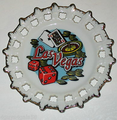 Collector Plate LAS VEGAS Scallop Edge DICE Roulette POKER Cards Gambling