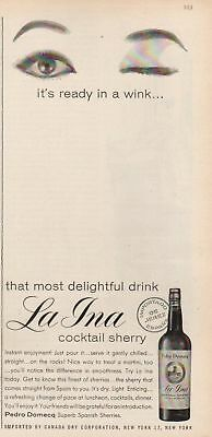1959 La Ina Spanish Cocktail Sherry Ready in a Wink Vintage Magazine Ad MMXV