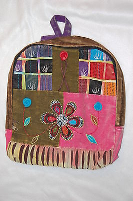 PURPLE Back PATCHWORK Hobo BACKPACK Embroidered FLOWERS Girls green pink