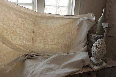 Vintage French sheet 19th 83 in by 83 inches HEAVY Metis linen cotton mix