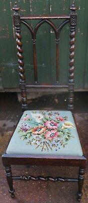 Nice Looking Barleytwist Chair With Gothic Looking Back To Tidy Up Or Restore