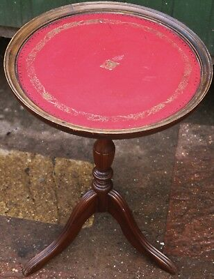 Very Nice Looking Small Wine Or Similar Table With Red Leather On Its Top