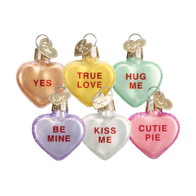"""Conversation Hearts"" (Set of 6) (30002) Old World Christmas Ornament w/ OWC Box"