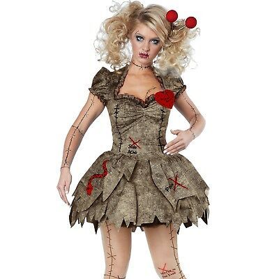 Womens Voodoo Rag Doll Costume Halloween Horror Scary Fancy Dress Party Outfit