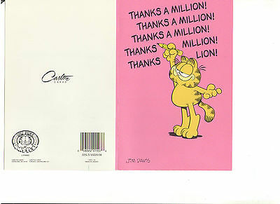 Garfield Greeting Card With Orange Envelop With Paws Carlton Cards Excellent