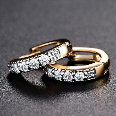 18k Gold Filled Sapphire CZ Crystal Engagement Stunning Anique Hoop Earrings