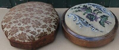 2 Small Old Wooden Upholstered Foot Stools To Tidy Up Or Restore