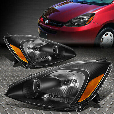 For 2004-2005 Toyota Sienna Pair Black Housing Amber Corner Headlight/lamp Set