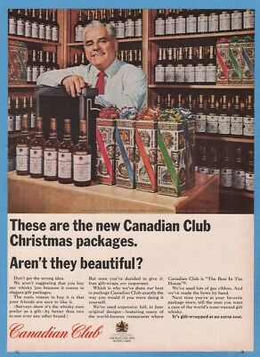 1964 Christmas Gift Boxes Packages Liquor Store Photos Canadian Club ad