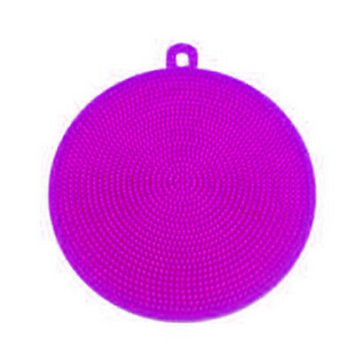 Purple Silicon Double-Side Cleaning Dish Washing Scouring Pad Sponge Scrubber