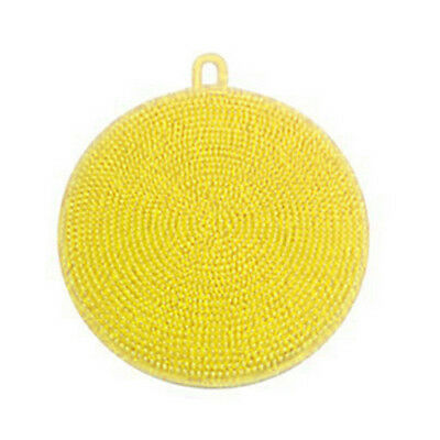Yellow Silicon Double-Side Cleaning Dish Washing Scouring Pad Sponge Scrubber