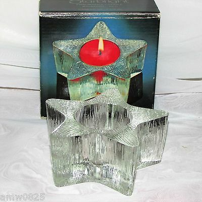 Starbright Vintage Avon Candle Holder Textured Clear Heavy Glass Star Christmas