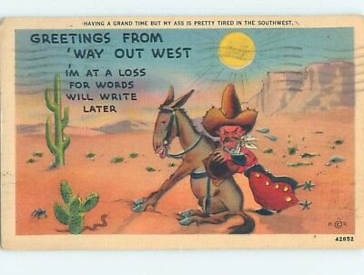 Damaged Linen western OLD WEST COWBOY TRYING TO PUSH HIS DONKEY MULE HL3435