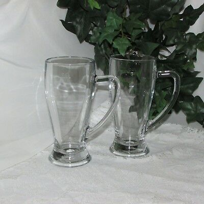2 Fidenza Clear Glass Beer Mugs With Handles Measured .4L Italy Barware