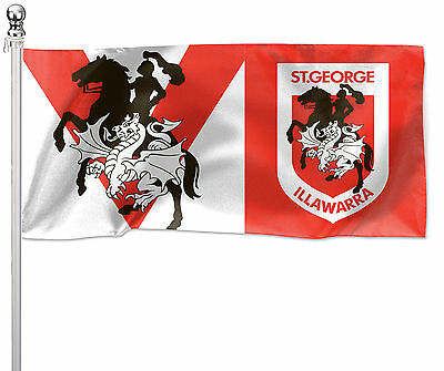 LARGE 1800x900mm Licensed NRL ST GEORGE DRAGONS Pole Flag (Pole not included)