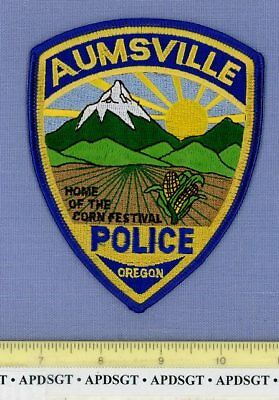 AUMSVILLE OREGON Sheriff Police Patch HOME OF THE CORN FESTIVAL VOLCANO MOUNTAIN