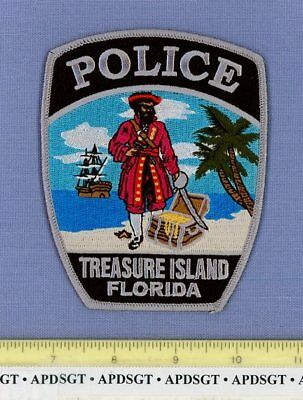 TREASURE ISLAND FLORIDA FL Sheriff Police Patch PIRATE SHIP GOLD CHEST