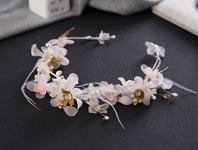 New Flower Feather Bridal Crown Headband Wedding Pageant Tiara Hair Accessories