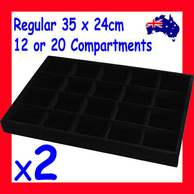 NEW 2X Jewellery Tray-FULL Black Velvet | 12 or 20 Compartments | AUSSIE Seller