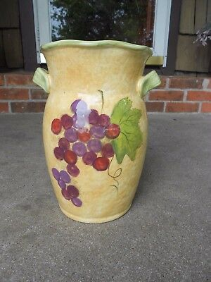 Certified International China Tusacan Handled VASE Susan Winget  Grape Clusters