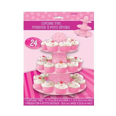 Unique Party Pink Cupcake Stand - Baby Shower Polka Dot Cardboard Reusable