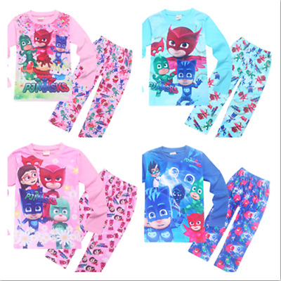 New Kids PJ Masks Cartoon Pajamas Sets Sleepwear Long T Shirt Nightgown Clothes