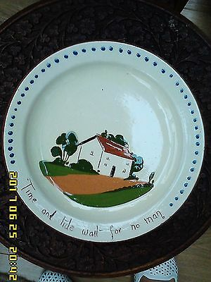 Vintage D.M.W Pottery cottage Motto Ware Plate 'Time and tide wait for no man'