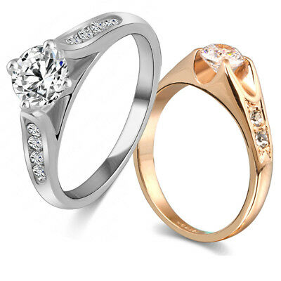 18KGP Wedding Rings Crystal Women New Ring Sz 5.5-9 Men Gold Plated  Crystal