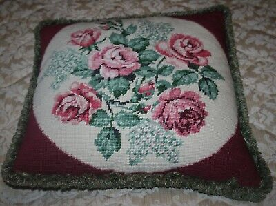 Vintage Hand Sewn Wool Tapestry Cushion Pink Roses Floral Sewing Soft Furnishing