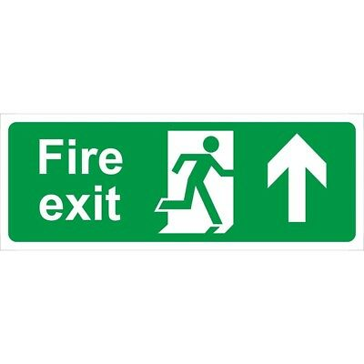 Fire Exit Arrow Up Self Adhesive Vinyl 400mm x 150mm - Castle Promotions Sign
