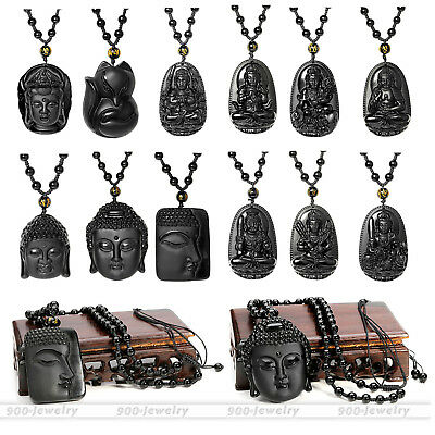Natural Obsidian Hand Carved Buddha Fox Amulet Talisman Patron Pendant Necklace